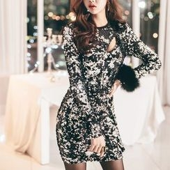 Aurora - Cutout-Front Sequined Sheath Dress