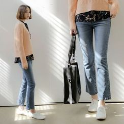WITH IPUN - Boot-Cut Washed Jeans
