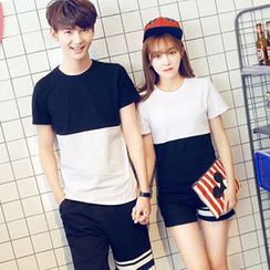 Azure - Couple Matching Two-Tone T-Shirt