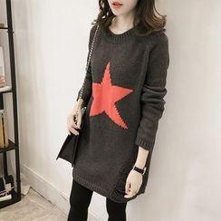 Little V - Ripped Star Print Long Sweater