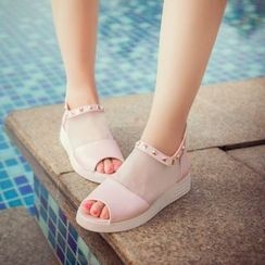 Pretty in Boots - Studded Mesh Inset Sandals