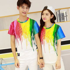 Azure - Couple Matching Paint Drip Print Short-Sleeve T-Shirt