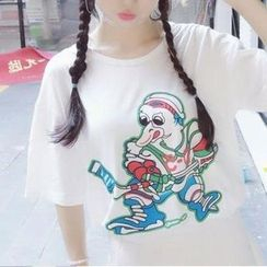 Cerauno - Printed Elbow Sleeve T-Shirt