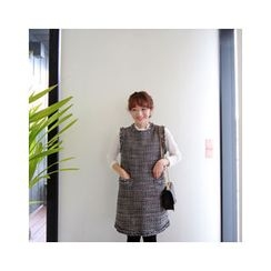 LEELIN - Fringed-Trim Tweed Dress