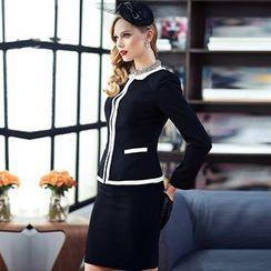 Aision - Contrast-Trim Blazer / Blouse / Pencil Skirt