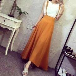 QZ Lady - Set: Jumper Skirt + Sleeveless Chiffon Top