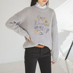 JUSTONE - Embroidered Wool Blend Sweater