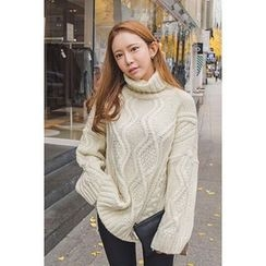 migunstyle - Turtle-Neck Cable-Knit Top
