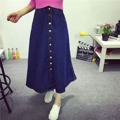 Coolvibe - Buttoned Denim A-Line Skirt