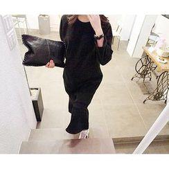 MARSHMALLOW - 3/4-Sleeve Ruffled-Hem Maxi Dress