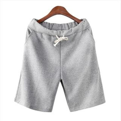 WIZIKOREA - Drawstring Colored Sweat Shorts