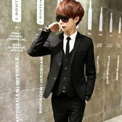 Evendu - Set: Blazer + Vest + Shirt + Dress Pants + Neck Tie + Belt