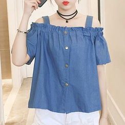MePanda - Strappy Mock Chambray Shirt