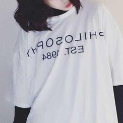Cerauno - Lettering Elbow-Sleeve T-Shirt