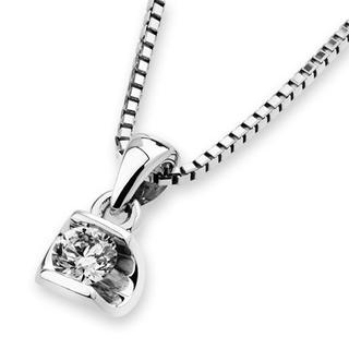 MaBelle - 18K White Gold Oval Solitaire Diamond Pendant (1/10 cttw) (FREE 925 Silver Box Chain)