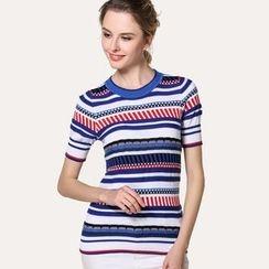 Edera - Short-Sleeve Patterned Knit Top
