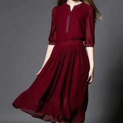 Merald - Smocked Waist Elbow-Sleeve Midi Chiffon Dress
