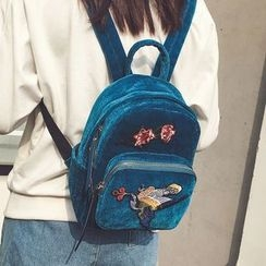 Youshine - Embroidered Velvet Backpack