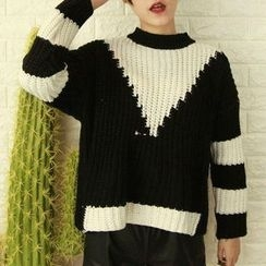 Fashion Street - Color Block Chunky Knit Sweater