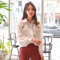 PPGIRL - Puff-Sleeve Embroidered Blouse