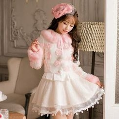 Candy Rain - Furry Collar Floral Coat