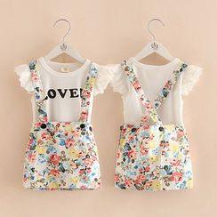 Seashells Kids - Kids Set: Lettering Sleeveless Top + Floral Suspender Skirt