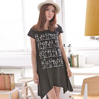 RingBear - Cat Print T-Shirt Dress