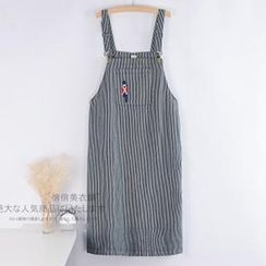 Lacuna - Pinstriped Denim Jumper Skirt