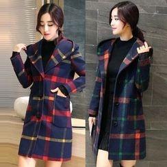 Trinie - Plaid Hooded Long Woolen Coat