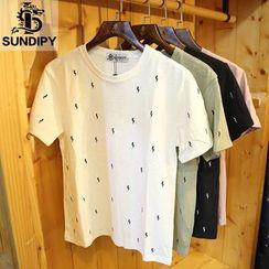 Sundipy - Short-Sleeve Embroidered T-Shirt