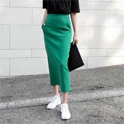 LIPHOP - Slit-Back Long Pencil Skirt