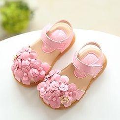 绿豆蛙童鞋 - 小童花形凉鞋