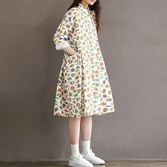 chome - Owl Print Midi Shirtdress