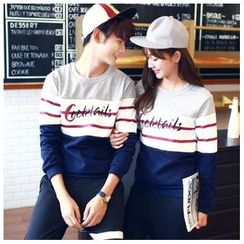 Azure - Couple Matching Colour Block Letter Pullover