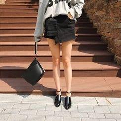 ERANZI - Fringe-Hem Wrap-Front Shorts