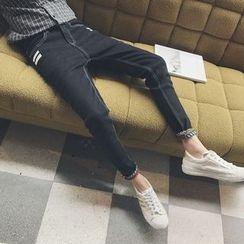 MEING - Applique Printed Slim-Fit Jeans