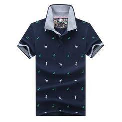 Bingham - 小鹿印花短袖馬球衫