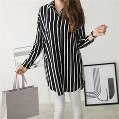 PEPER - Drop-Shoulder Striped Long Shirt