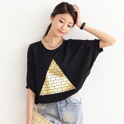 SO Central - Chiffon Back Pyramid Print T-Shirt Dress