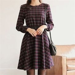 CHICLINE - A-Line Check Dress