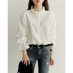 UPTOWNHOLIC - Frilled-Collar Bell-Sleeve Blouse
