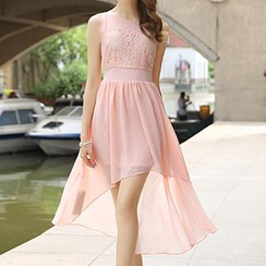 Romantica - Sleeveless Lace-Panel Chiffon Dress