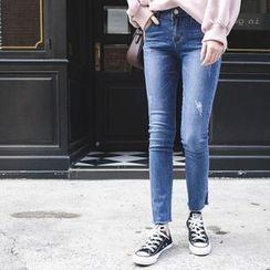 mimi&didi - Slit-Hem Washed Skinny Jeans