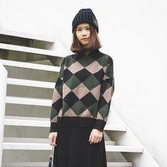 Polaris - 小高领菱格毛衣