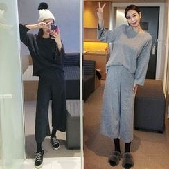 Seoul Fashion - Set: Knit Top + Wide-Leg Pants