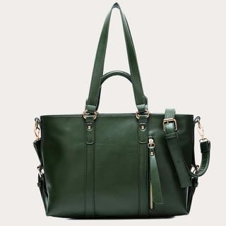 19th Street - Zip-Detail Belted Faux-Leather Tote
