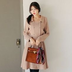Seoul Fashion - Tie-Waist Buttoned Coat Dress