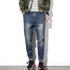 DUKESEDAN - Washed Drawstring Jogger Jeans