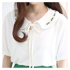 Sechuna - Flower-Embroidered Collar T-Shirt