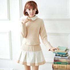 Porta - Set: Two-Tone Blouse + A-Line Skirt